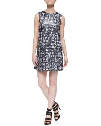 Symbols-Print Sequined Sleeveless Dress