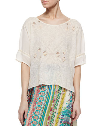 Embroidered Eyelet Georgette Boxy Blouse, Women's
