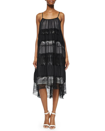 Dejas Pleated Trapeze Dress, Black