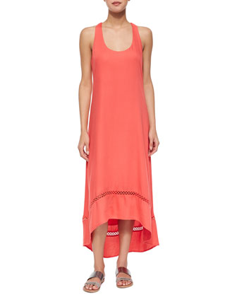 Crepe Racerback High-Low Dress, Nectar