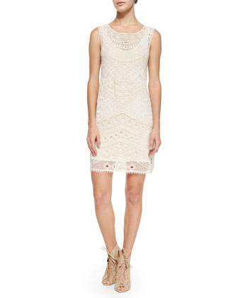 Sleeveless Embroidered-Mesh Shift Dress, Natural