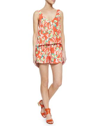 Tropical-Print Short Jumpsuit, Fiesta