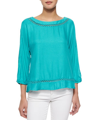 Embroidery-Trim Crepe Blouse, Azure