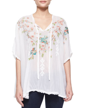 Sakura Short-Sleeve Embroidered Poncho