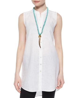 Sleeveless Long Linen Shirt