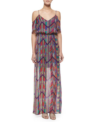 Chevron-Print Maxi Dress, Rojo