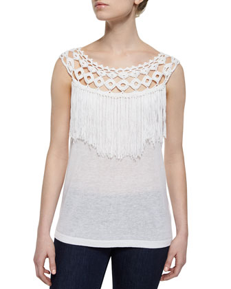 Fringed Slub-Knit Sleeveless Top, White