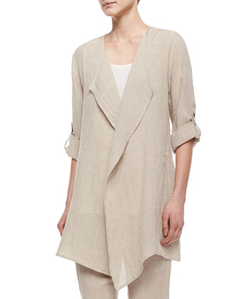 Long Crinkled Linen Jacket, Tank & Straight-Leg Linen Pants