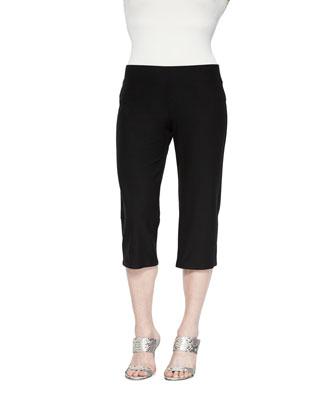 Linen V-Neck Boxy Tunic & Slim Crepe Capri Pants