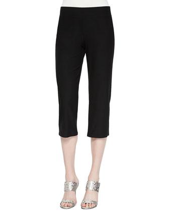 Linen V-Neck Boxy Tunic & Slim Crepe Capri Pants, Petite