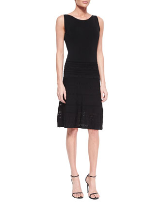 Sleeveless Fit & Flare Pointelle Dress, Women's