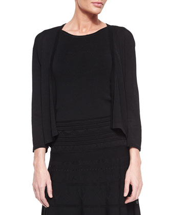 3/4-Sleeve Cardigan & Sleeveless Fit-and-Flare Pointelle Dress