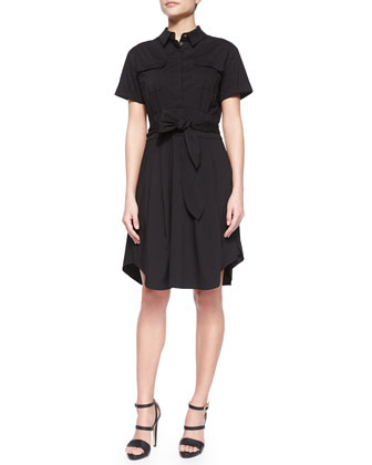 Maya Button-Front Cotton Shirtdress, Rich Black