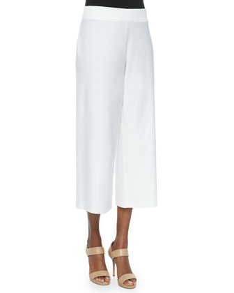 Wide-Leg Washable-Crepe Cropped Pants, Women's