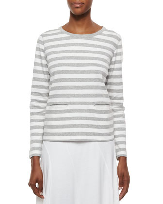 Long-Sleeve Striped Top & Seamed Midi Skirt, Petite