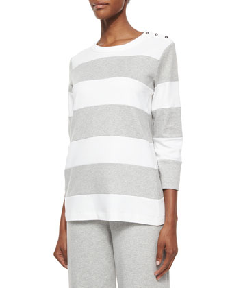 Striped Pullover Top & Cropped Cotton Interlock Pants