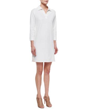 3/4-Sleeve Shirttail Pique Dress, Petite