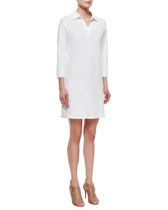 3/4-Sleeve Shirttail Pique Dress, Women's