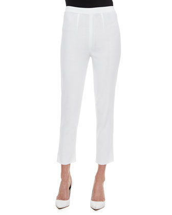 Slim Cropped Ankle Pants, White, Women's