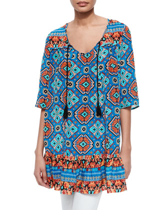 Devina Tie-Neck Printed Tunic/Dress, Blue, Women's