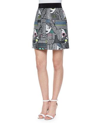Les Femmes Jacquard Mini Skirt