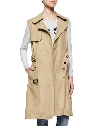 Sleeveless Belted Waterproof Trench Coat & Wink Intarsia Sweater