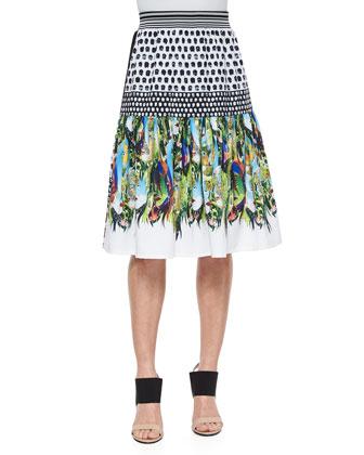 Flourishing Oasis Mixed-Print Skirt