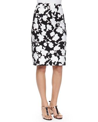 floral-print midi pencil skirt