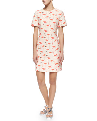 short-sleeve flamingo-print sheath dress