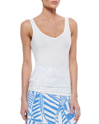 Amalie Long-Sleeve Open Cardigan, Tabbie Tank W/ Tonal Logo & Nola Printed ...