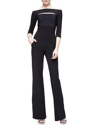 Katiuscia 3/4-Sleeve Off-the-Shoulder Wide-Leg Jumpsuit