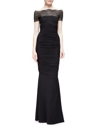 Nasir Lace-Bodice Mermaid Gown, Black