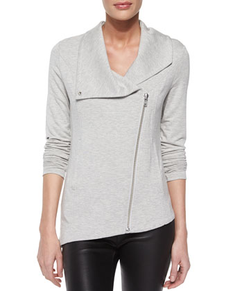 Villous Front-Zip Sweatshirt Jacket & Stretch-Leather Skinny Pants