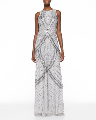 Sequined & Beaded Halter Gown, Platinum