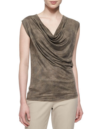 Carmit Hanky-Front Cardigan, Wila Draped-Front Tank & Alanis Cropped Pants