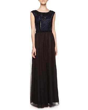 Beaded-Bodice Cap-Sleeve Gown