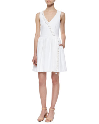 Alessia Fit-and-Flare Tassel-Trim Dress