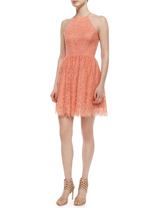 Sleeveless Halter Lace Party Dress, Papaya