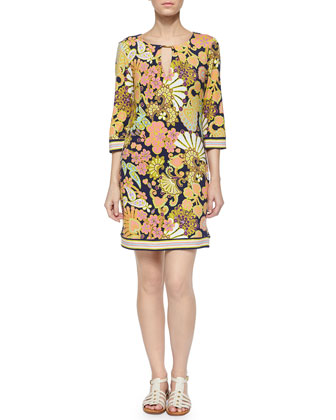 Melia 3/4-Sleeve Floral-Print Shift Dress