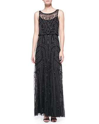 Sleeveless Beaded Blouson-Bodice Gown