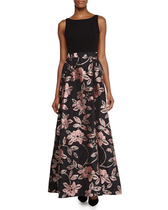 Jersey-Bodice Jacquard-Skirt Gown