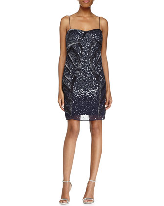 Sleeveless Beaded Cocktail Dress, Twilight