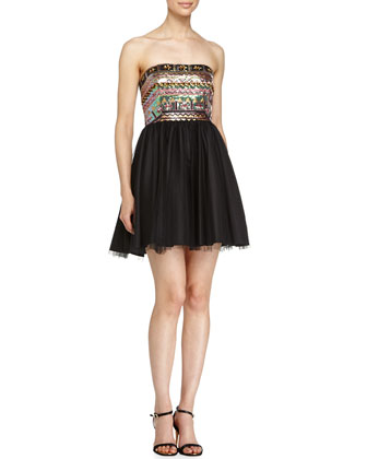 Strapless Sequin Combo Dress, Black/Multicolor