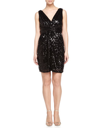 Sequined Cocktail Dress, Black