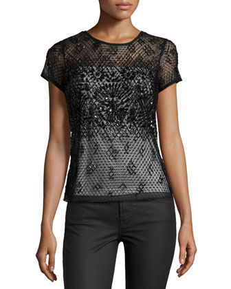 Beaded Short-Sleeve Top, Black/Ivory