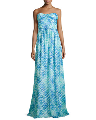 Jennifer Strapless Dress, Aqua/Cyan Multi