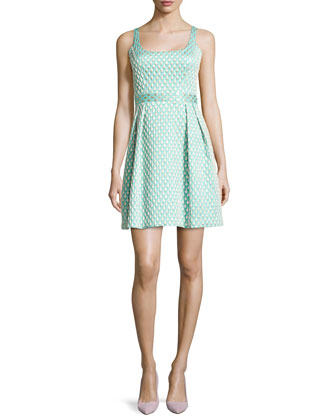 Jacquard Printed Cocktail Dress, Aqua/Gold Combo