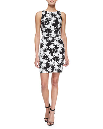 Sleeveless Palm-Print Back-Cutout Dress