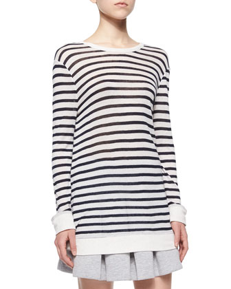 Long-Sleeve Striped Tee, Ink/Ivory