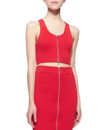 Sleeveless Ribbed Zip-Front Cropped Top & Zip-Front Ribbed Midi Pencil Skirt